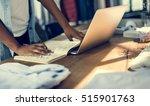 teenage girl working desk... | Shutterstock . vector #515901763