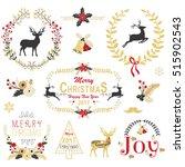 gold christmas wreath frame... | Shutterstock .eps vector #515902543