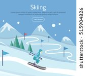 skiing banner. skier on snowy... | Shutterstock .eps vector #515904826