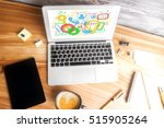 top view of workplace with... | Shutterstock . vector #515905264