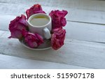 cup of tea with rose  and... | Shutterstock . vector #515907178