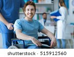 smiling disabled young man on... | Shutterstock . vector #515912560