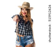 sexy blonde woman cowgirl... | Shutterstock . vector #515912626