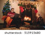 man in red sweater sitting in... | Shutterstock . vector #515915680