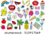 patch badges with lips  hearts  ... | Shutterstock .eps vector #515917069