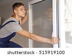 construction worker installing... | Shutterstock . vector #515919100