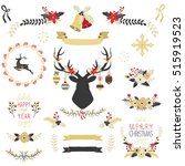 gold christmas elements | Shutterstock .eps vector #515919523