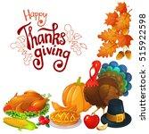corner frame with thanksgiving... | Shutterstock .eps vector #515922598