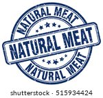natural meat stamp.  blue round ... | Shutterstock .eps vector #515934424