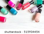 bottles of colored nail polish... | Shutterstock . vector #515934454