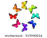 Stock photo colored butterflies round pattern isolated on white 515940016