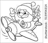 coloring  santa on a plane.... | Shutterstock .eps vector #515954314