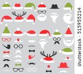 set of santa hats  mustache and ... | Shutterstock .eps vector #515955214