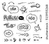 hand drawn set of speech... | Shutterstock . vector #515955268