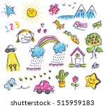 cute kid drawing isolated on... | Shutterstock .eps vector #515959183