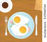 vector breakfast eggs and bacon ... | Shutterstock .eps vector #515960764