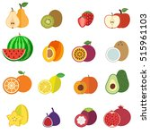 fruits collection flat design...   Shutterstock .eps vector #515961103