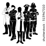 silhouette emergency rescue... | Shutterstock .eps vector #515967310
