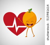 fruit cartoon heart healthy... | Shutterstock .eps vector #515981614