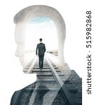 Small photo of Businessman walking on railway tracks and thinking silhouette on white background. Double exposure. Research and solitude concept