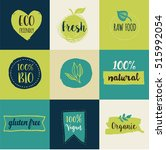 bio  ecology  organic logos and ... | Shutterstock .eps vector #515992054