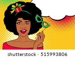 pop art face. young sexy afro... | Shutterstock .eps vector #515993806