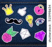 fashion patch  retro badges... | Shutterstock .eps vector #515998654