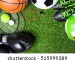 various sport tools on grass   Shutterstock . vector #515999389