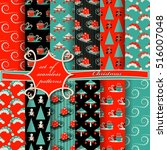 set of christmas seamless... | Shutterstock .eps vector #516007048