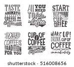set of coffee lettering. vector ... | Shutterstock .eps vector #516008656