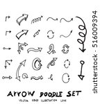 vector hand drawn arrows set | Shutterstock .eps vector #516009394