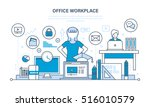 workplace organization and... | Shutterstock .eps vector #516010579