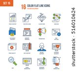 color flat line icons set of... | Shutterstock .eps vector #516010624