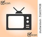 tv icon. flat design style....