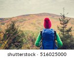 hiking woman with backpack... | Shutterstock . vector #516025000