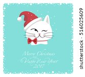 greeting card. white cat in... | Shutterstock .eps vector #516025609