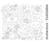 flower and rainy vector cartoon ... | Shutterstock .eps vector #516026866