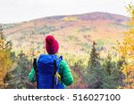 hiking woman with backpack... | Shutterstock . vector #516027100