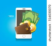 vector digital mobile wallet... | Shutterstock .eps vector #516030070