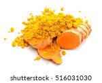 turmeric powder and turmeric... | Shutterstock . vector #516031030