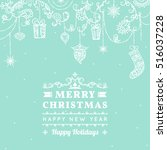 seamless christmas pattern with ... | Shutterstock .eps vector #516037228