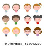 set of diverse kids and... | Shutterstock .eps vector #516043210
