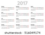 simple calendar for 2017 year.... | Shutterstock .eps vector #516049174