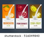 milkshake concept with milk... | Shutterstock .eps vector #516049840
