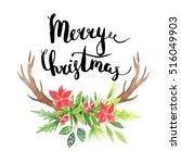 merry christmas lettering.... | Shutterstock . vector #516049903