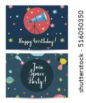 happy birthday cartoon greeting ... | Shutterstock .eps vector #516050350