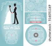 wedding invitation set.winter... | Shutterstock .eps vector #516051169