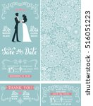 wedding invitation set.winter... | Shutterstock .eps vector #516051223