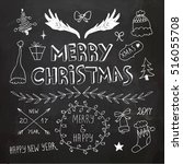 christmas and new year doodles... | Shutterstock .eps vector #516055708
