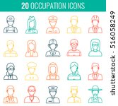professions vector flat icons.... | Shutterstock .eps vector #516058249